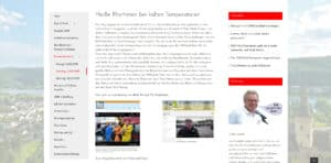 Screenshot einer Seite zum Festwochenende auf der Website 1000 Jahre Bad Hönningen