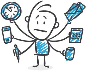 Zeichnung eines Webdesigners, der viele Aufgaben gleichzeitig erledigt