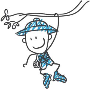 Zeichnung eines Forschers, der an einem Ast hängt