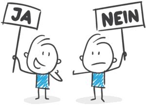 Zeichnung von zwei Webdesignern mit Ja-Nein-Schildern