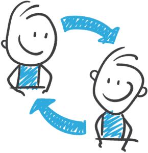 Zeichnung von zwei Webdesignern als Kooperationspartner
