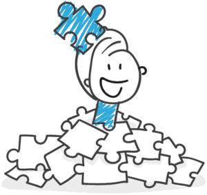 Zeichnung eines Webdesigners mit Puzzleteilen
